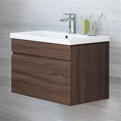 Modern Bathroom Sink Units modern bathroom wall hung vanity unit storage cabinet basin sink walnut ebay