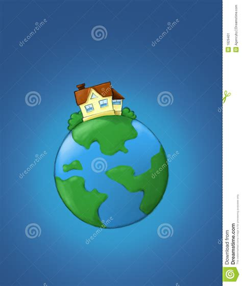 house planet real estate illustration house on the planet stock image