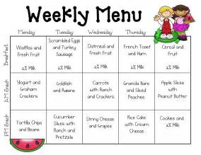 Preschool Menu Template by Snack Baskets My Need To Learn Portion