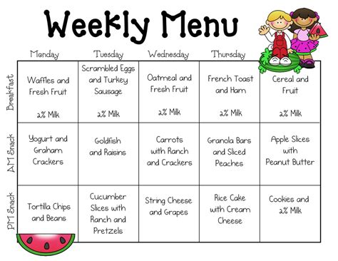 daycare menu templates breakfast menu calendar sle menus our place