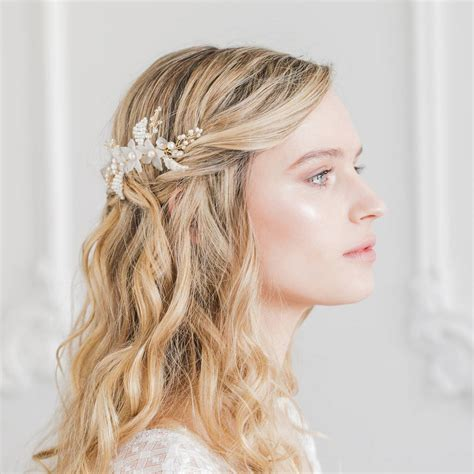 wedding hair comb with chains by britten weddings floral wedding hair comb by britten weddings