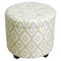 storage pouf tufted storage ottoman yellow white threshold