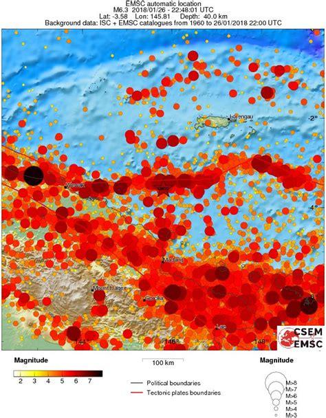 Papua New Guinea Fastis 2018 Shallow M6 3 Earthquake Hits Near The Coast Of New