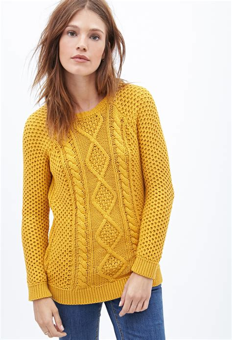 Sweater Cutout Knit Yellow lyst forever 21 cable knit fisherman sweater in yellow