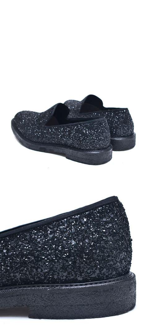 shoes glitter encrusted designer slip on loafer shoes