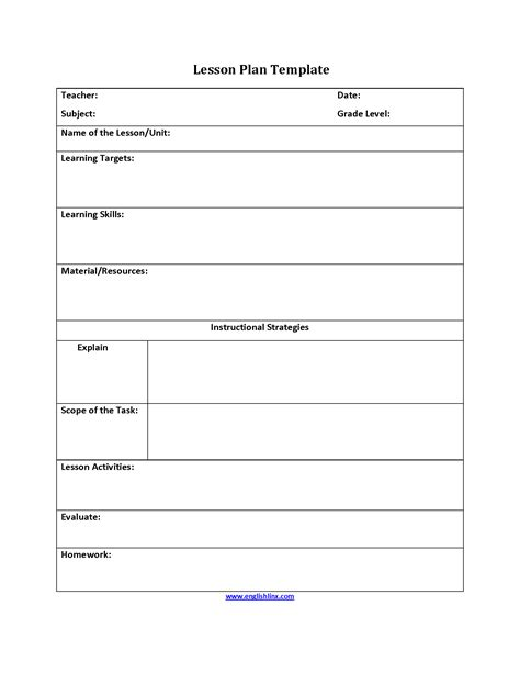 Lesson Plan Template Activity Templates