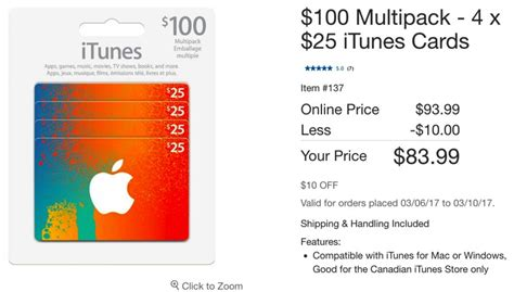 Apple Music Gift Card Canada - costco has 100 itunes cards for 20 off again iphone in canada blog canada s 1