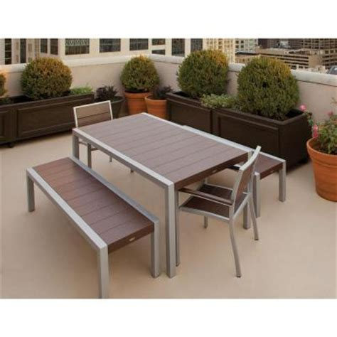 outdoor dining table with bench trex outdoor furniture surf city textured silver 5 piece bench patio dining set with