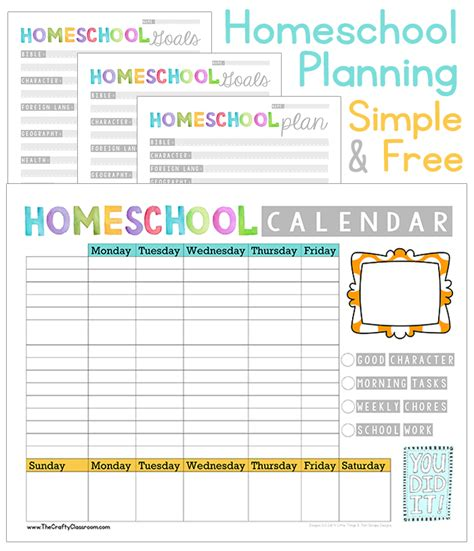 printable homeschool planner pages free homeschool planner