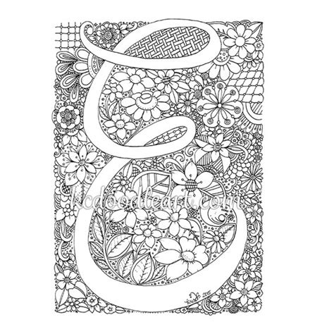 advanced coloring pages of letters instant digital download adult coloring page letter e