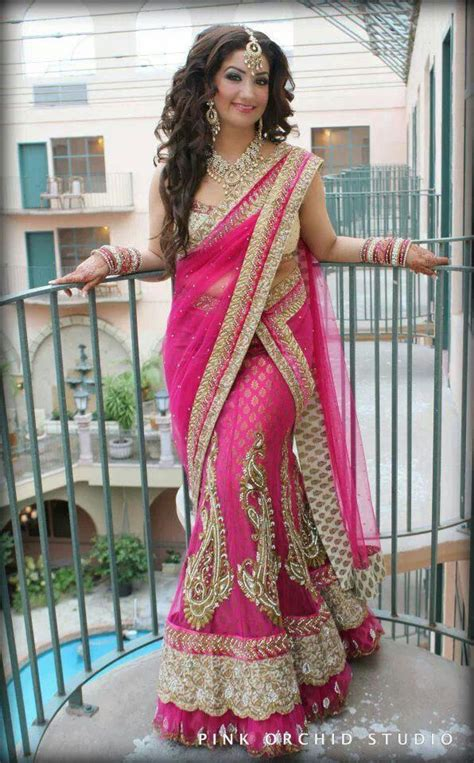 hairstyles in net saree pink bridal sari lehenga bridal lengas pinterest