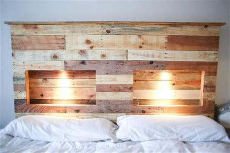 wood pallet headboards diy pallet headboard with lights pallet wood projects