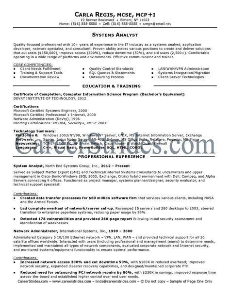 Systems Analyst Resume by System Analyst Resume System Analyst Resume Sle