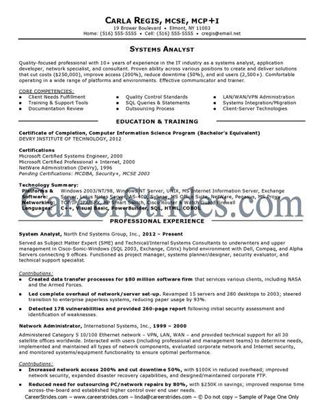 System Analyst Resume   System Analyst Resume Sample