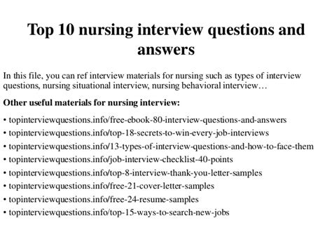 Answers To Questions For Nurses top 10 nursing questions and answers