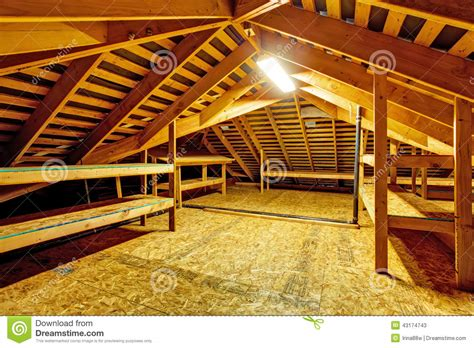 New American House Plans empty attic with storage shelves stock image image 43174743