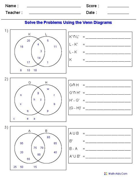 maths sets and venn diagrams 16 best set images on venn diagram worksheet college math and exercises