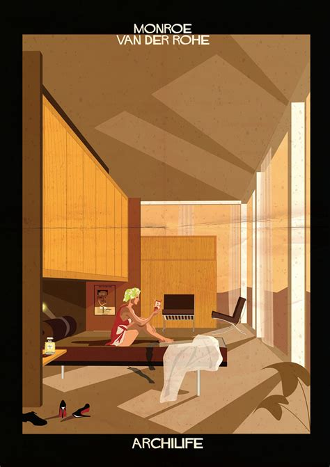 Frank Lloyd Wright Home Interiors by Federico Babina Adds Cinematic Stars To Architect Designed