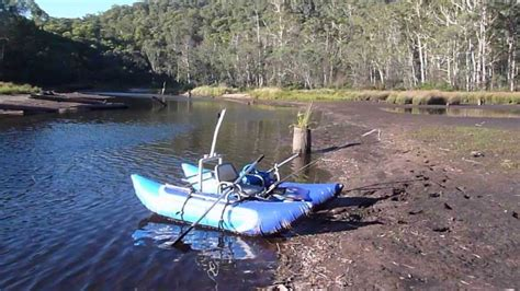 fishing from inflatable pontoon boat fishing on the edwards river nsw on my inflatable pontoon