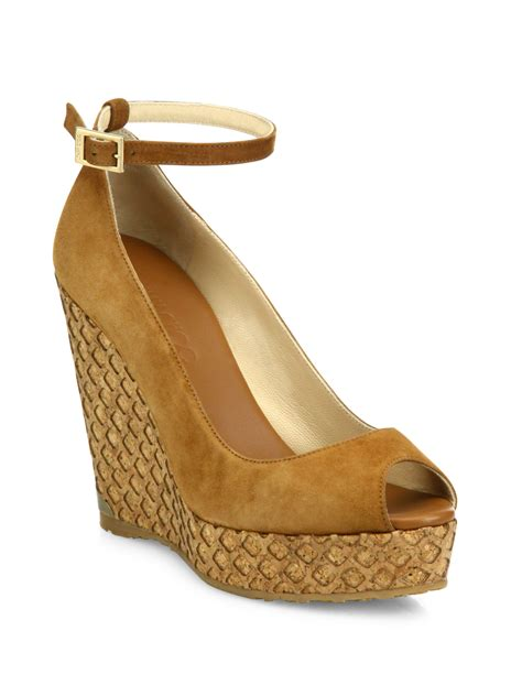 jimmy choo tan suede meringue platform peep toe pumps in jimmy choo pacific 120 suede ankle strap cork wedge peep