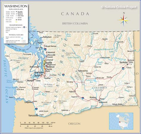 washing state map reference maps of state of washington usa nations