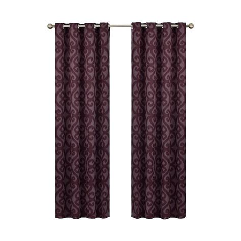curtains 95 length eclipse patricia blackout aubergine grommet curtain panel