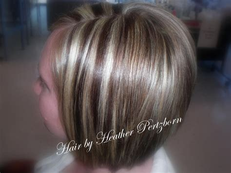 bob hair with high lights and lowlights cute bob cut chunky highlights lowlights blonde red brown