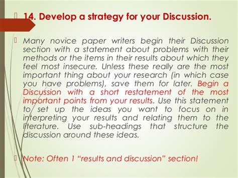 how to write discussion scientific paper writing scientific papers discussion section