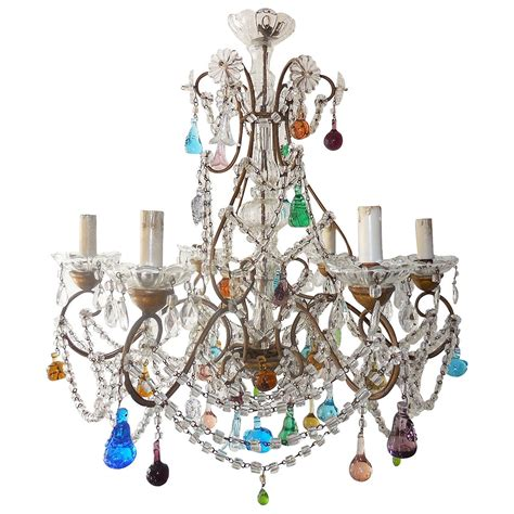 Murano Chandeliers 1900 Italian Murano Colored Fruit Swags Chandelier At 1stdibs