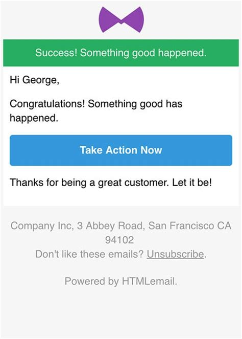 Responsive Success Alert Email Template It Alert Email Template