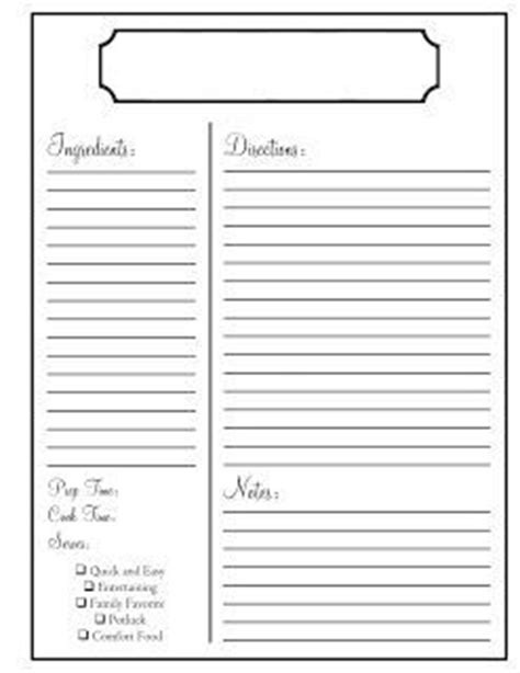 Page Recipe Portrait Card Template by Printable Recipe Template Clean