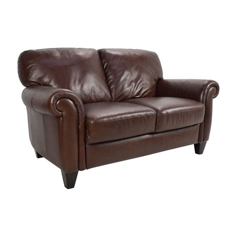sofa loveseats 50 off brown roll arm leather loveseat sofas