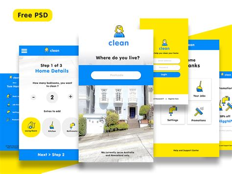 app design ui psd 13 screens cleaning app ui kit for photoshop freebiesui