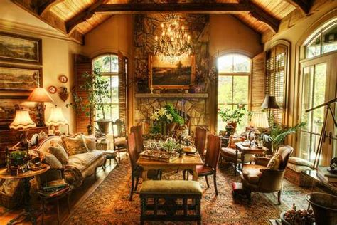 rich interior design and decor in vintage style enhanced by gorgeous lake views