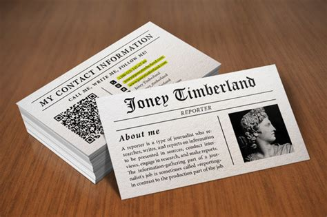 Newspaper Business Card newspaper reporter business card business card