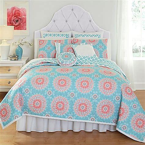 dena bedding dena home sloane quilt in aqua bed bath beyond