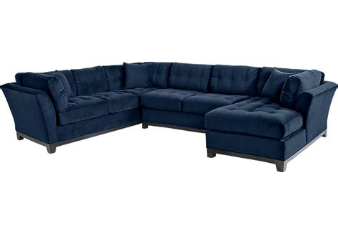 Livingroom Pc Cindy Crawford Home Metropolis Navy 3 Pc Sectional