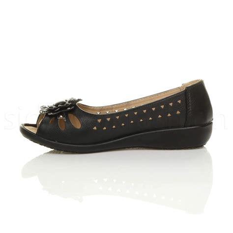 wedge comfort shoes womens ladies low wedge heel cut out peep toe comfort