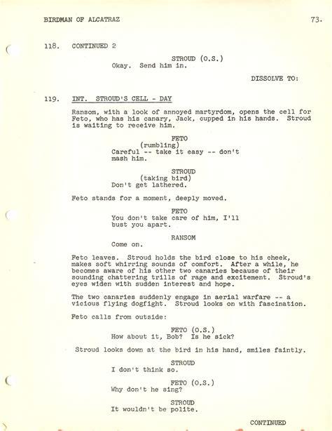biography movie script birdman of alcatraz 1962 screenplay by guy trosper