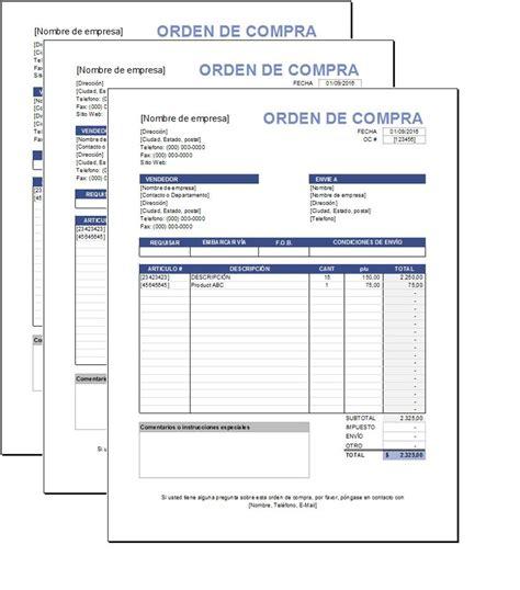 formulario orden de compra plantilla de orden de compras excel plantillas gratis