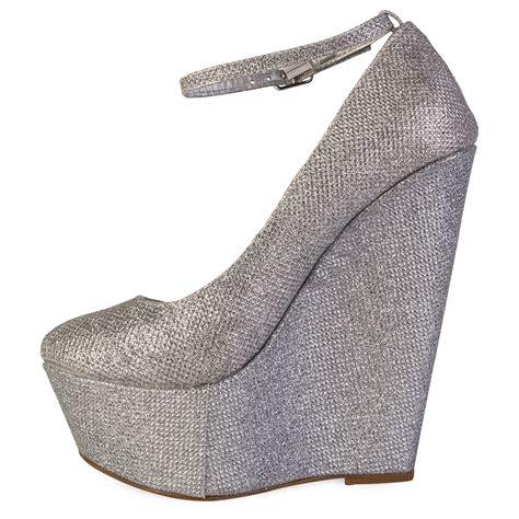 womens silver glitter sparkle shimmer platform