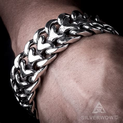 Mass Der Set Heavy Silver 25mm mens heavy sterling silver herringbone bracelet