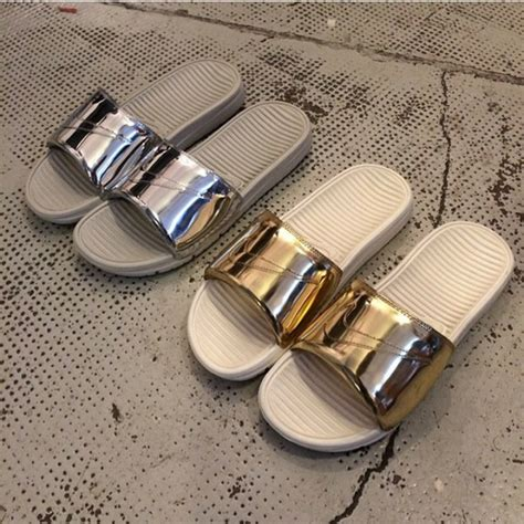 Custom Flat Shoes Ajl 31 shoes metallic slides slide shoes benassi liquid pack
