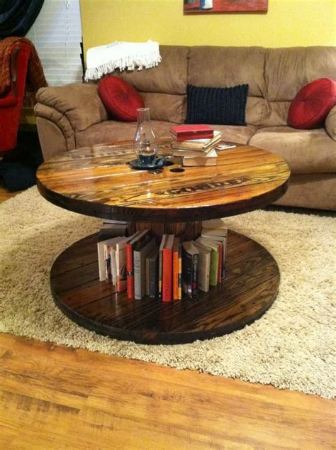 spool coffee table my husband refinished this for my
