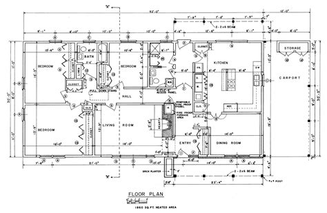 Floor Plans Blueprints Free 3 Bedroom Ranch House Plans With Carport