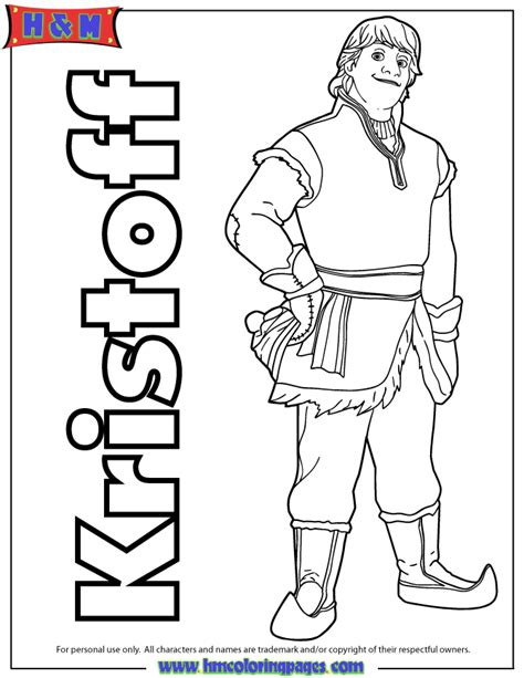 kristoff from disney frozen animated film coloring page