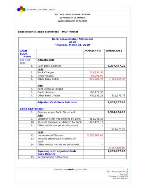 account reconciliation template bank reconciliation template exle masir