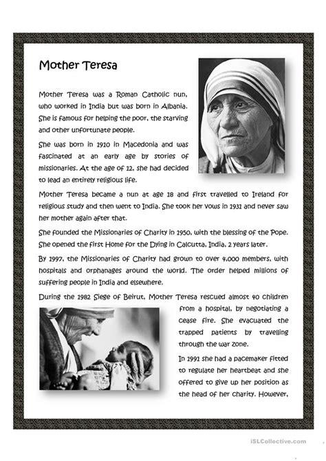 mother teresa saint teresa mother teresa activities mother teresa worksheet free esl printable worksheets