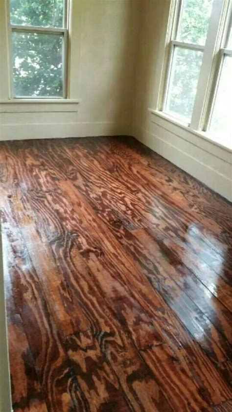 Stained Plywood Floor by This Diy Floor Project Was Made From Plywood We Took 13