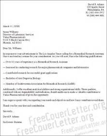 biomedical research assistant cover letter sample